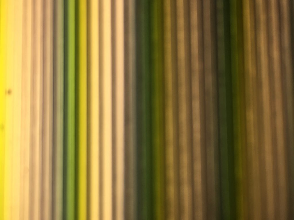 Vivid vertical color bars ranging from yellow to green