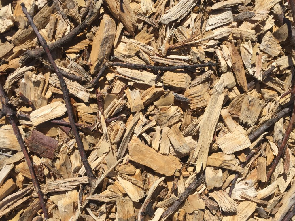 Light brown wood chips with dark brown sticks