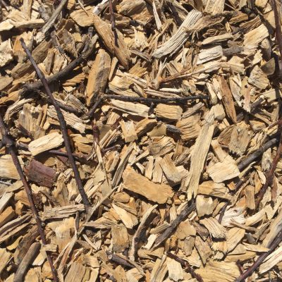 Light colored wood chips and brown sticks