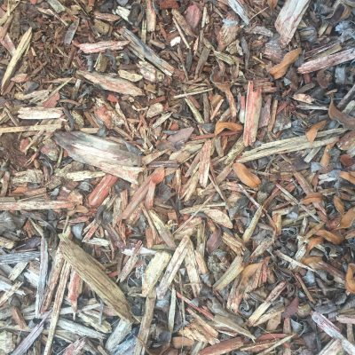 Mulch bed with chunks of wood featuring different shapes and sizes