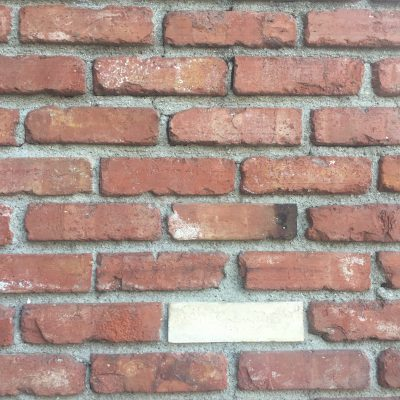 Wide shot of brick wall with single white brick