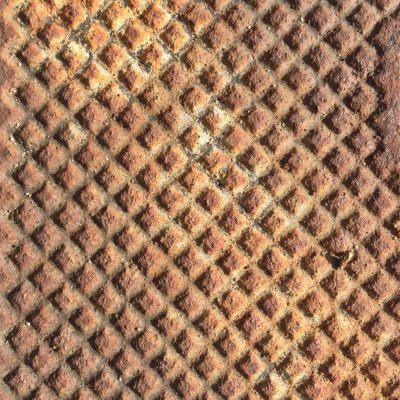 Heavy rust metal with pattern of squares