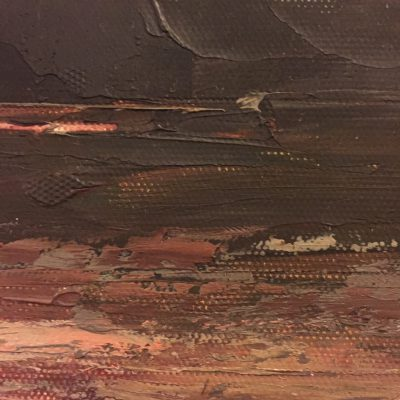 Close up of painting with thick brush strokes over textured canvas
