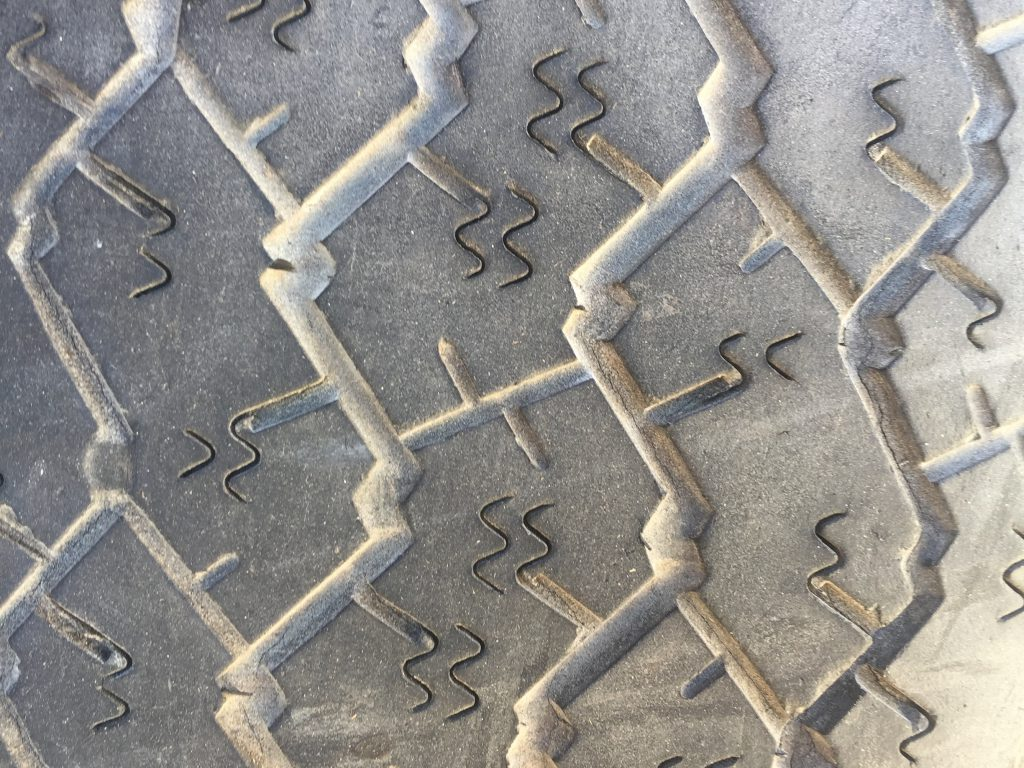 Close up of tire tread texture with wavy indents