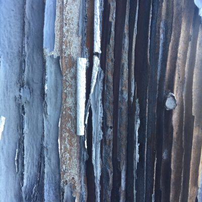 Peeling blue paint over rotting wood