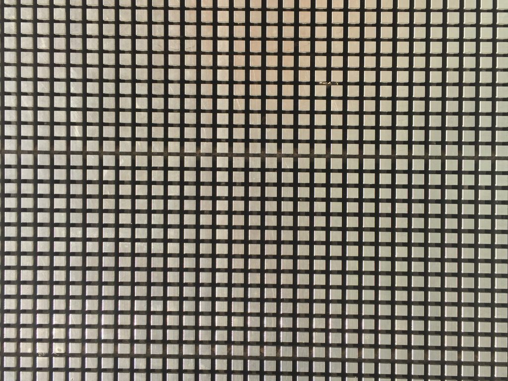 Grid of metal cubes