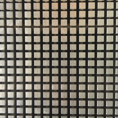 Grid of metallic squares floating over black