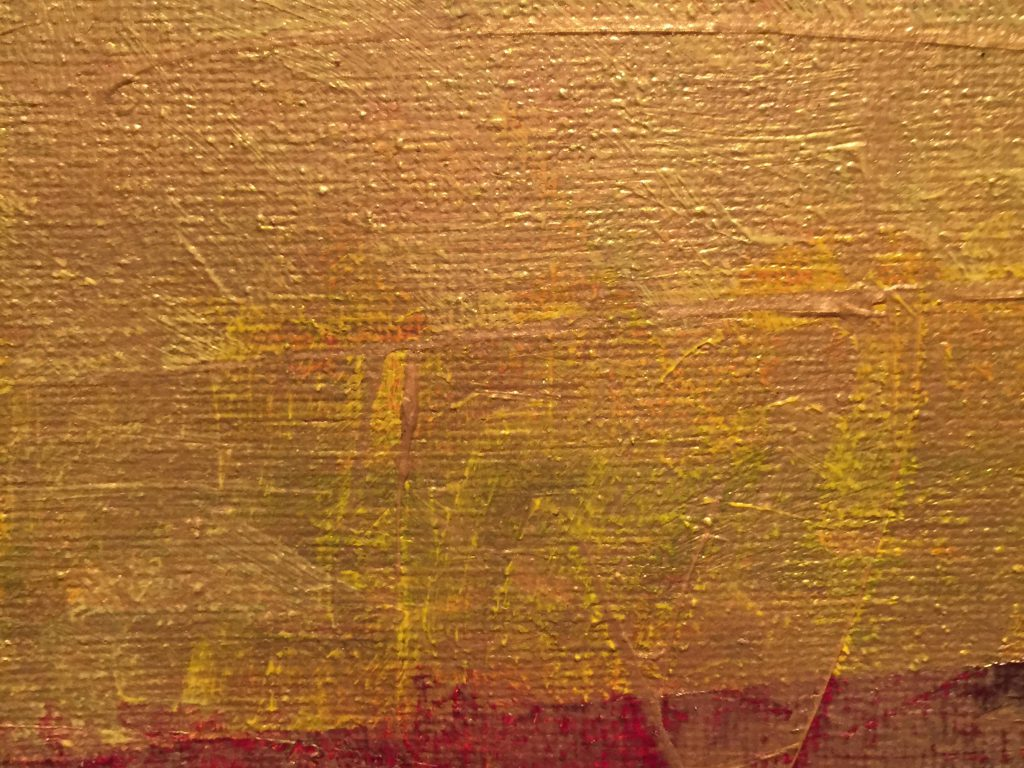 Golden yellow and deep red paint on canvas