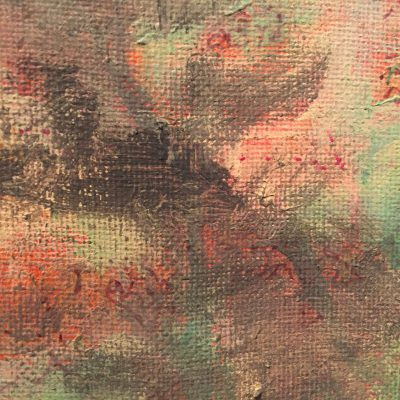 Pastel colors on canvas with dry black brush strokes