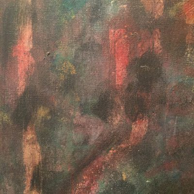 Canvas artwork close up with dried acrylic paint with base of charcoal brown and blues and reds shining through.