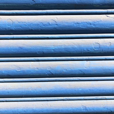 Blue slats stacked vertically