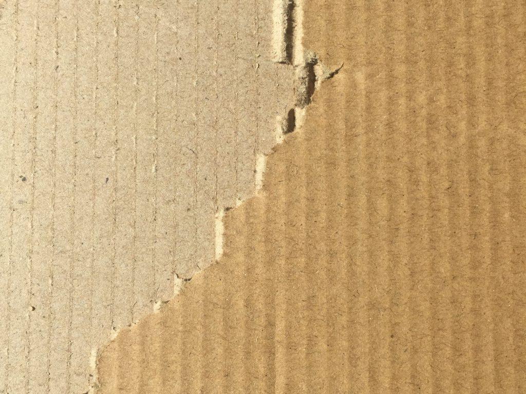 Cardboard with large tear
