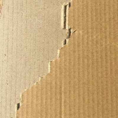 Cardboard with large tear