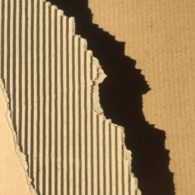 Vertical corrugated lines in cardboard