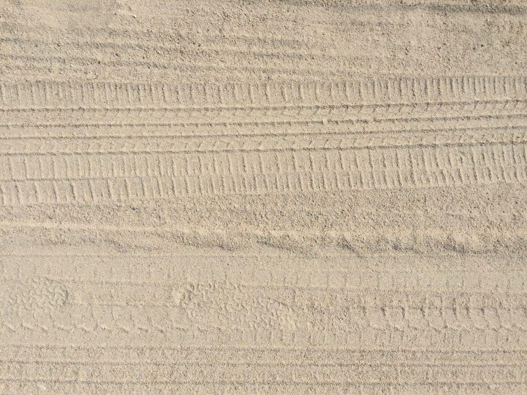 Sandy beach with tire tracks