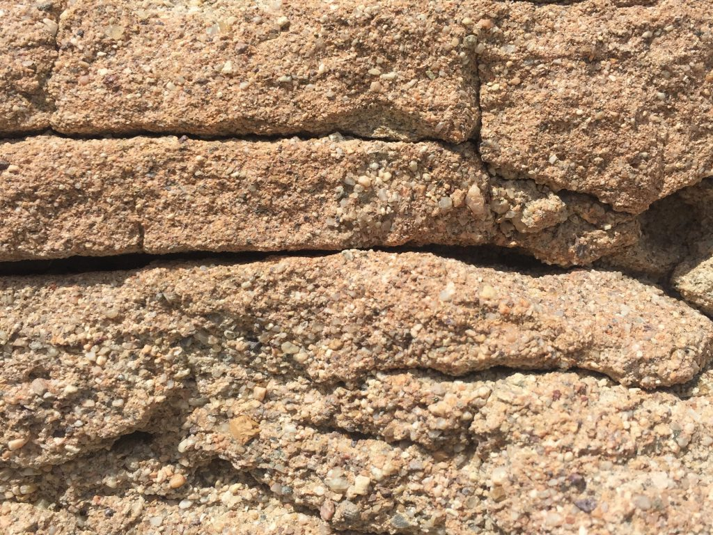 Composite rocks stacked on top of each other