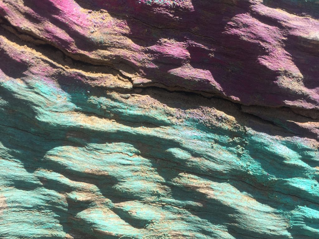 Close up of bumpy painted wood