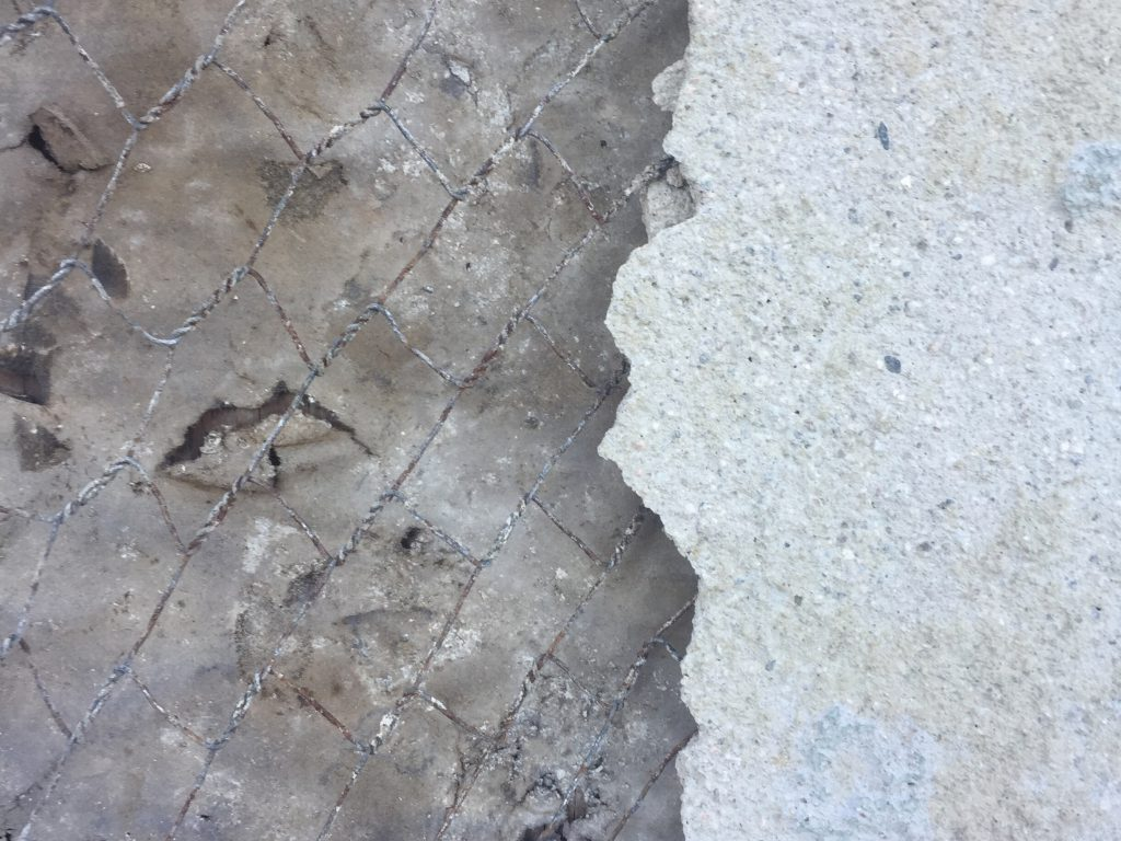 Layers of an wall demolition
