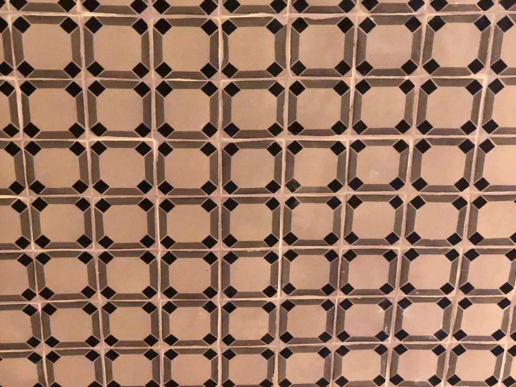 Black and tan ceiling pattern