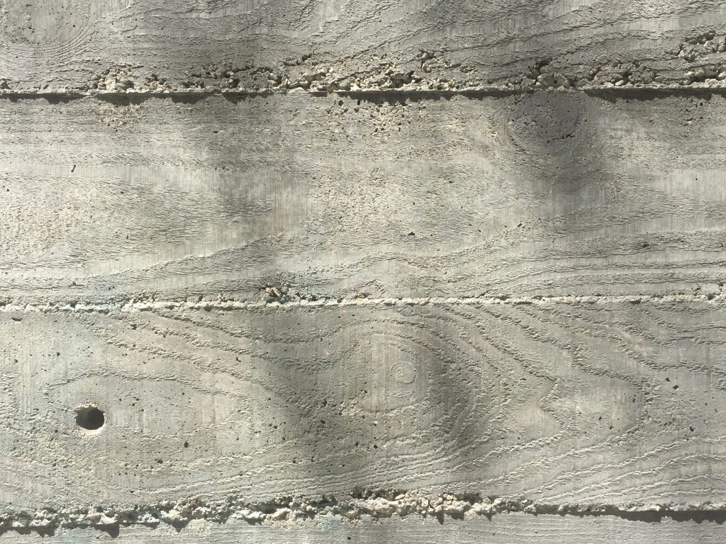 Cement wall with wood grain