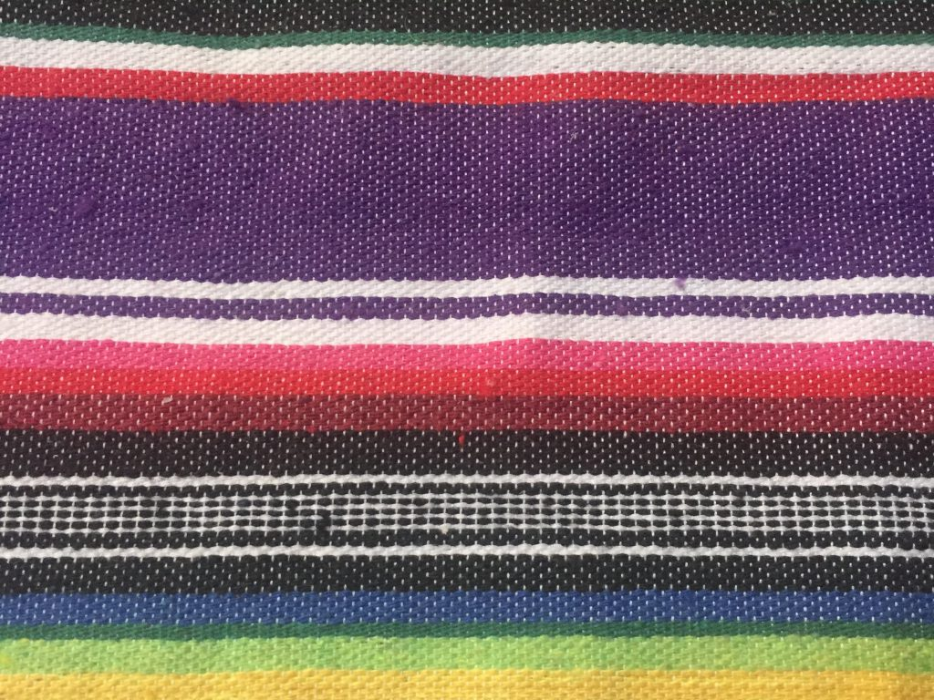 Colorful blanket close up