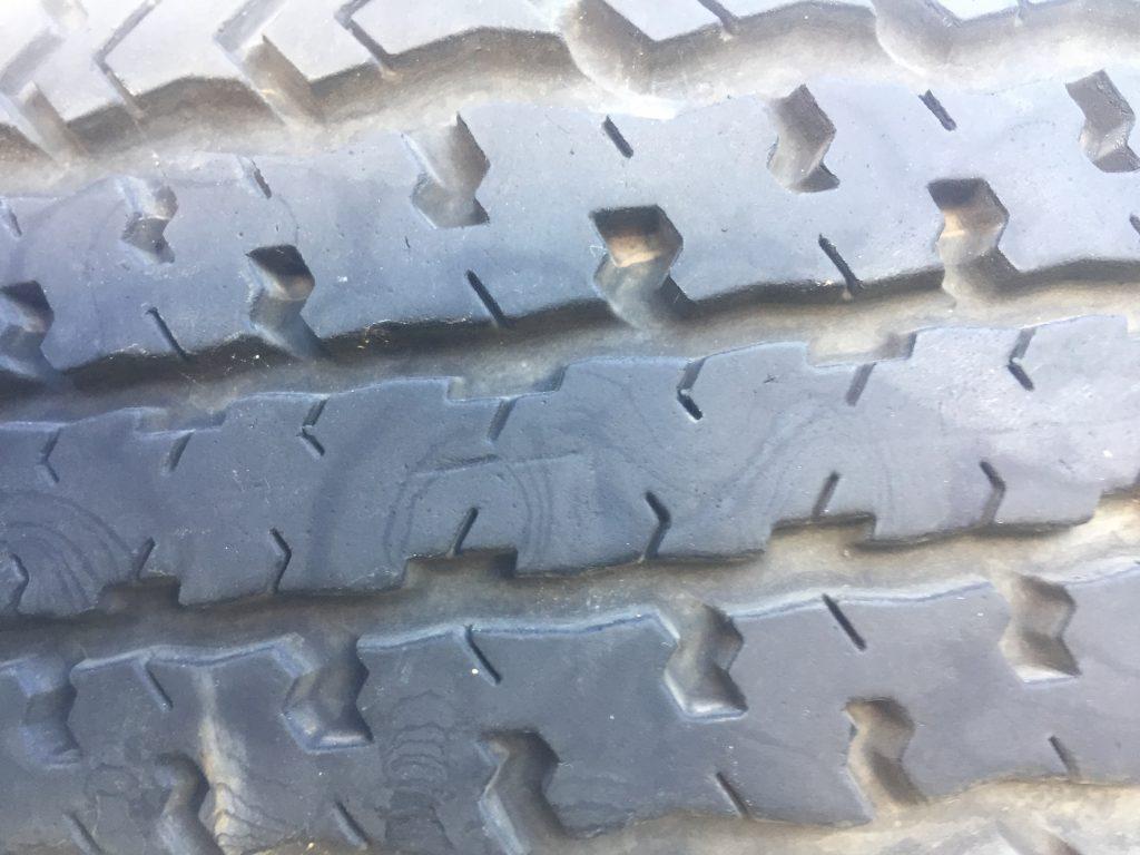 Worn rubber tire tread