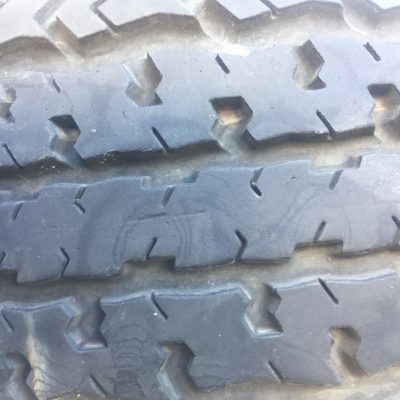 Worn rubber tire tread