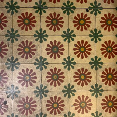 Dirt covered floor tiles