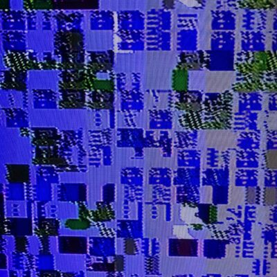 Retro video game tile glitching with purple color