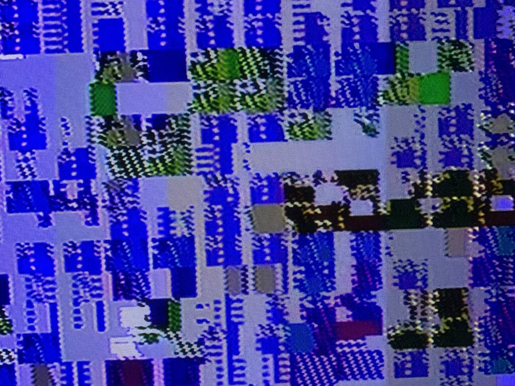 Retro video game glitching with blue color
