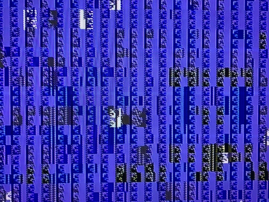 Pattern of blue tiles from glitching video game screen