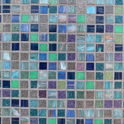 Decorative blue and purple mosaic tiles