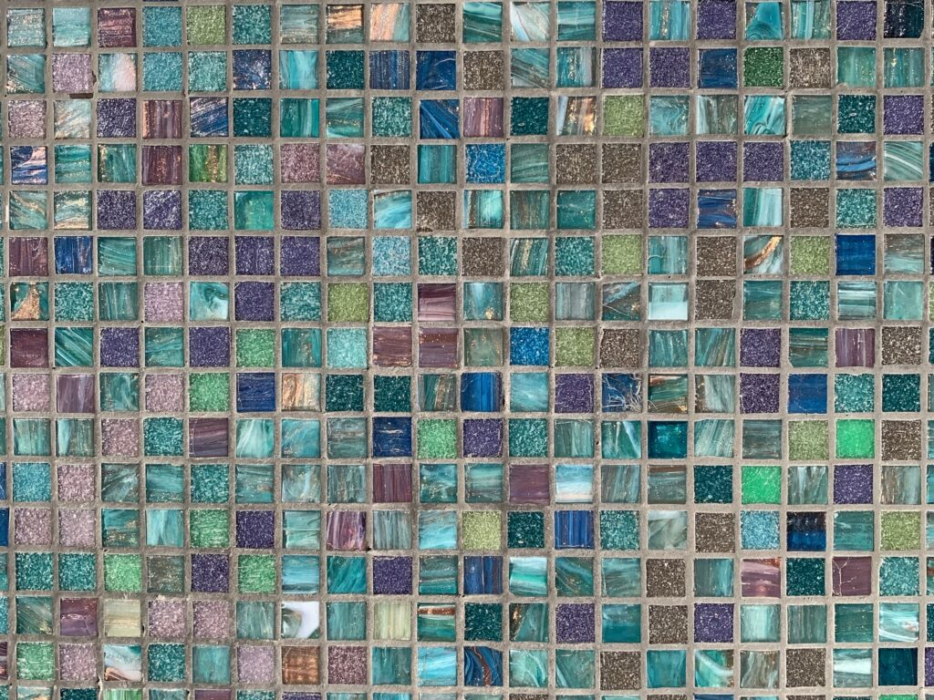 Blue and pink ceramic tiles in a a grid