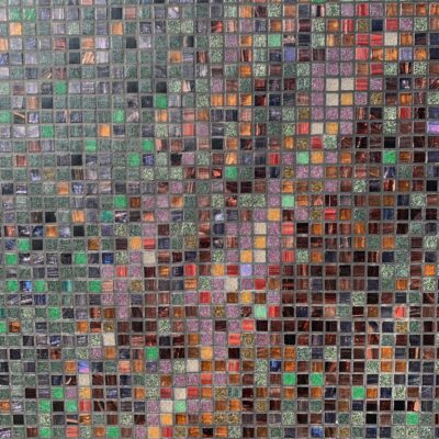 Small glass tiles with lots of color and texture