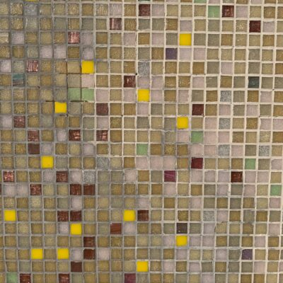 Bright yellow, dark red and pink mixed into brown grid of ceramic tiles