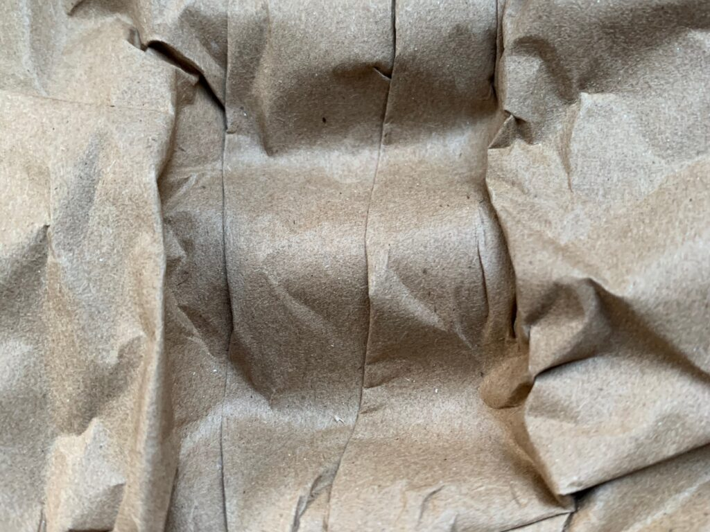 Brown paper all crumpled up close up