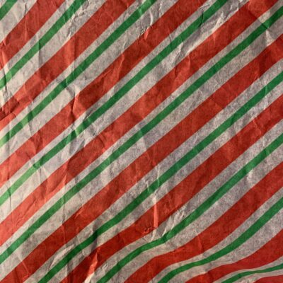 Red green and white stripes on decorative paper