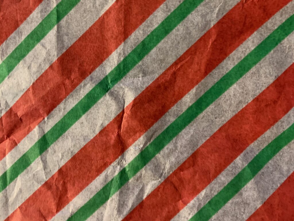 Thin gift paper with red white and green color bars