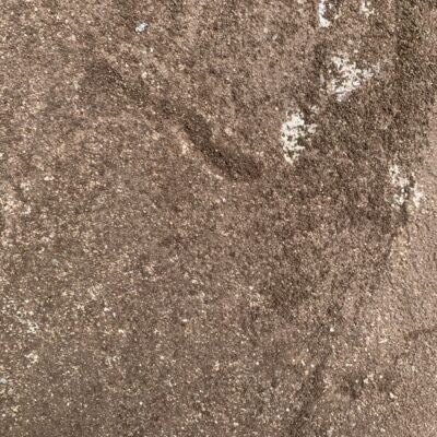 Brown rock with white specs close up