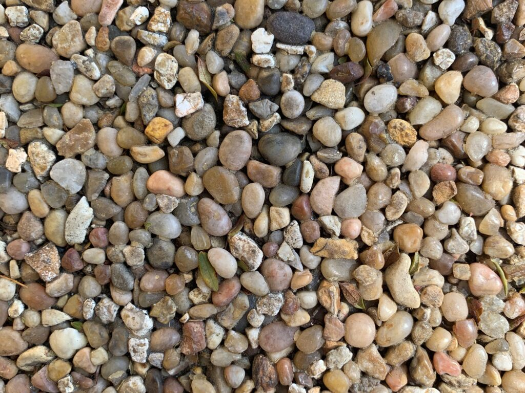 Field of rounded pebbles with varying colors